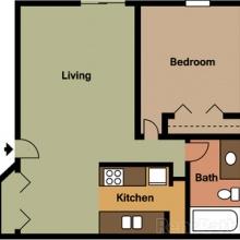 1BR 2D Floor Plan
