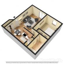 1 BR 3D Floor Plan