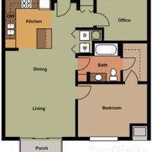 1BR wDen 2D Floor Plan 880