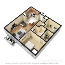 1BR wDen 3D Floor Plan 880