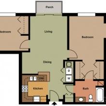 2BR 1BA 2D Floor Plan 1080