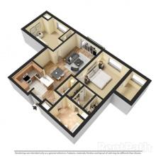 2BR 1BA 3D Floor Plan 1080