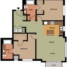 2BR 2BA 2D Floor Plan 1150