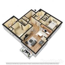 2BR 2BA 3D Floor Plan 1150