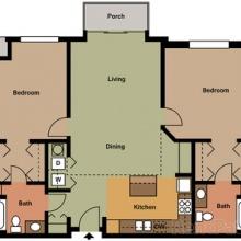 2BR 2BA 2D Floor Plan 1204