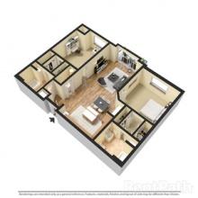 2BR 2BA 3D Floor Plan 1204