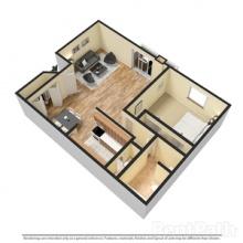 1BR 3D Floor Plan