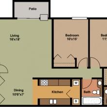 2BR 2D Floor Plan
