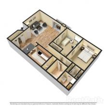 2BR 3D Floor Plan