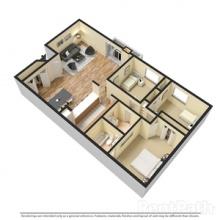 3BR 3D Floor Plan